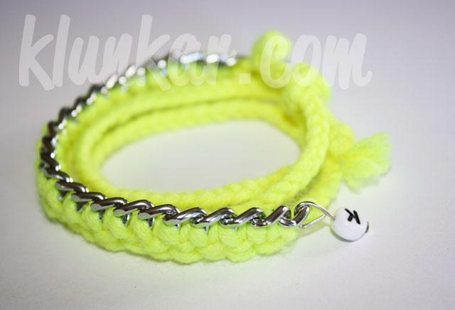 Wickelarmband und Kette Neongelb