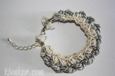 Häkelarmband Silber Weiß